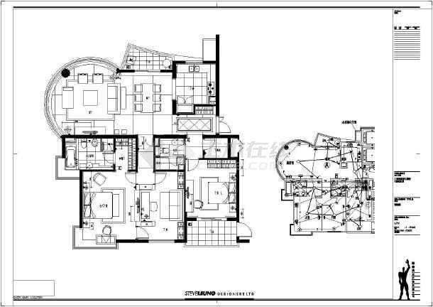 别墅建筑室内装修全套cad施工图-图2