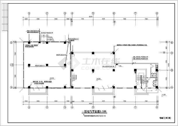 一套库房电气cad施工图(共8张)-图1
