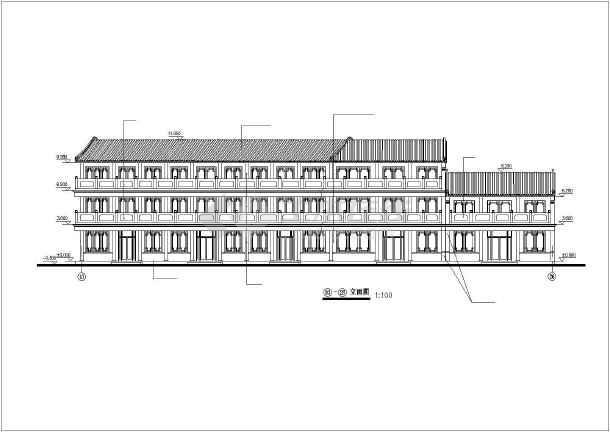 某地仿古街建筑施工图纸(共14张)-图1