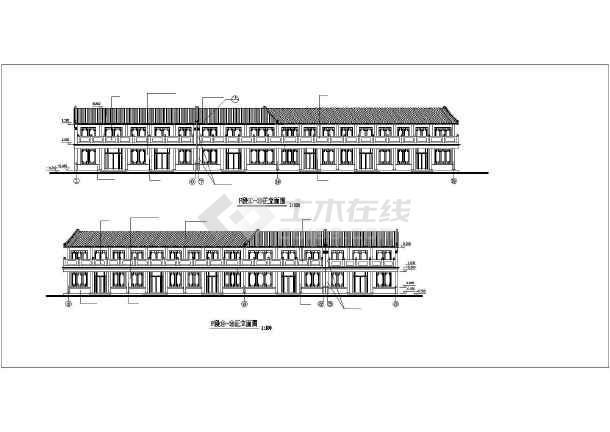 某地仿古街建筑施工图纸(共14张)-图2