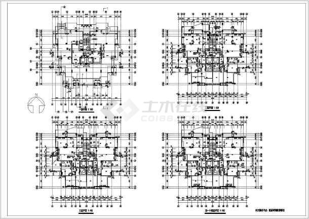 某地紫桂苑4号楼建筑施工图(共4张)-图3