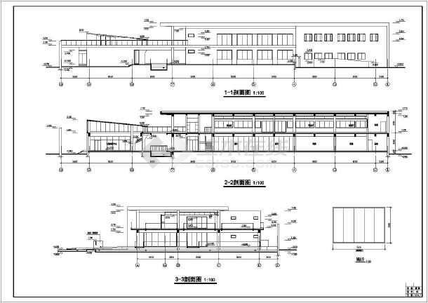 某地超市施工建筑cad图-图1