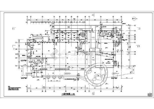 某地超市施工建筑cad图-图2