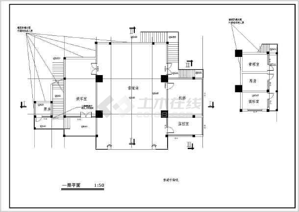 某地索道上部站茶室建施图cad-图3