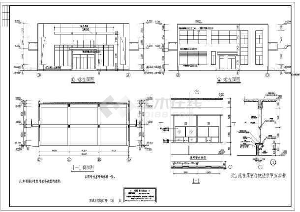 某地区二层食堂建筑cad设计图 (含设计说明)-图1