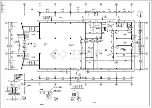某地区二层食堂建筑cad设计图 (含设计说明)-图2