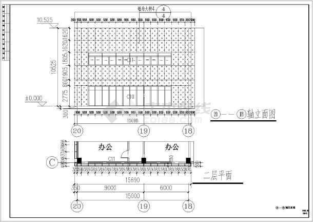 某地商场建筑外幕墙cad施工设计图(包含结构、节点图)-图1