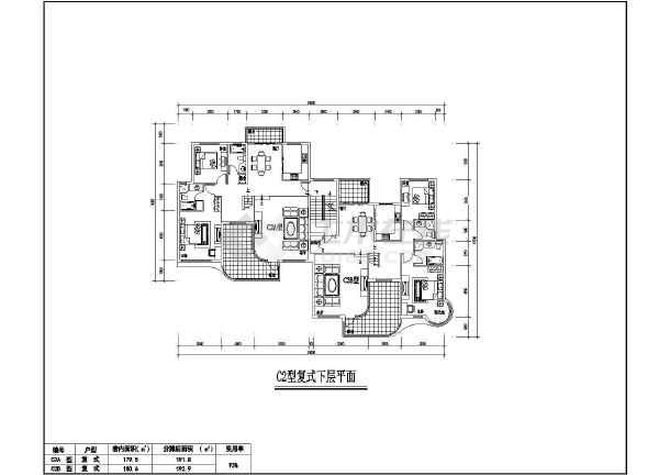 点击查看某地居住小区7种户型建筑图第2张大图