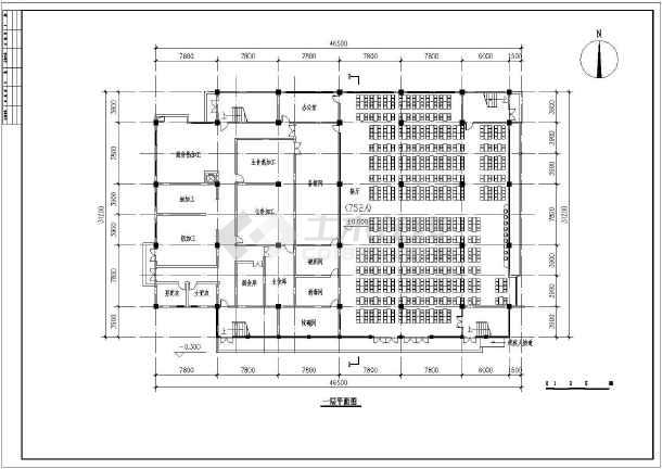 二层食堂建筑cad设计图(共4张)-图2