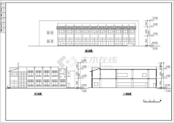 二层食堂建筑cad设计图(共4张)-图3
