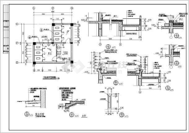 某公司二层食堂建筑施工图纸(标注详细)-图2