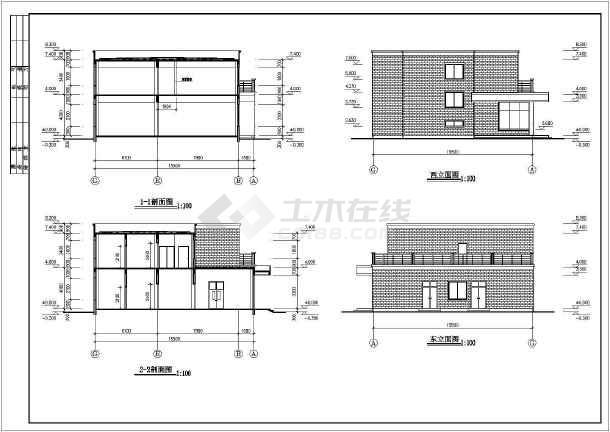 某公司二层食堂建筑施工图纸(标注详细)-图3