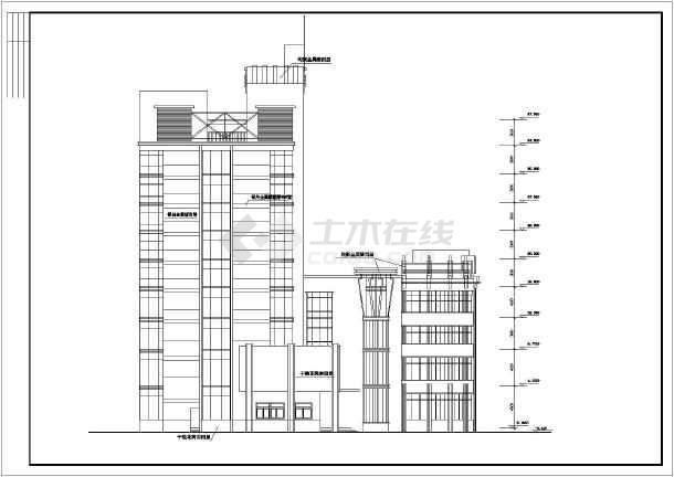 某地综合楼施工建筑图-图2