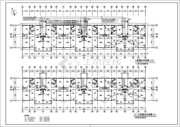 某多层住宅楼电气cad施工图(共8张)-图2