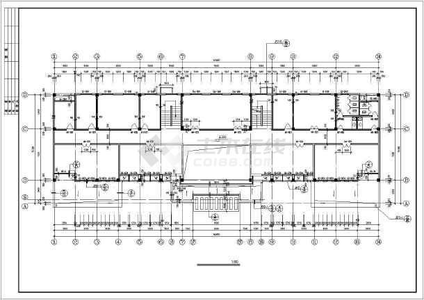 某3层办公楼建筑方案设计CAD图-图2