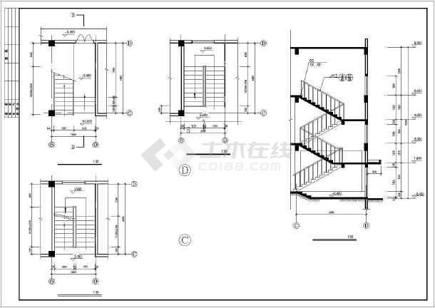 某3层办公楼建筑方案设计CAD图-图3