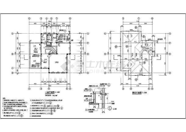 某三层框架别墅建筑设计方案图-图1