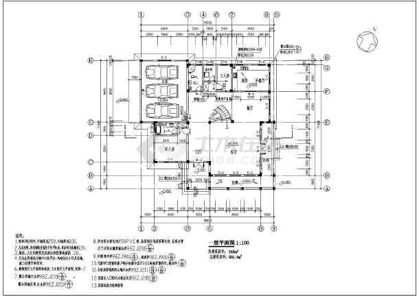 某三层框架别墅建筑设计方案图-图3