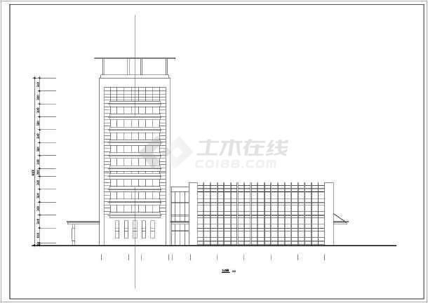 某地医院12层综合楼cad施工方案设计图-图1