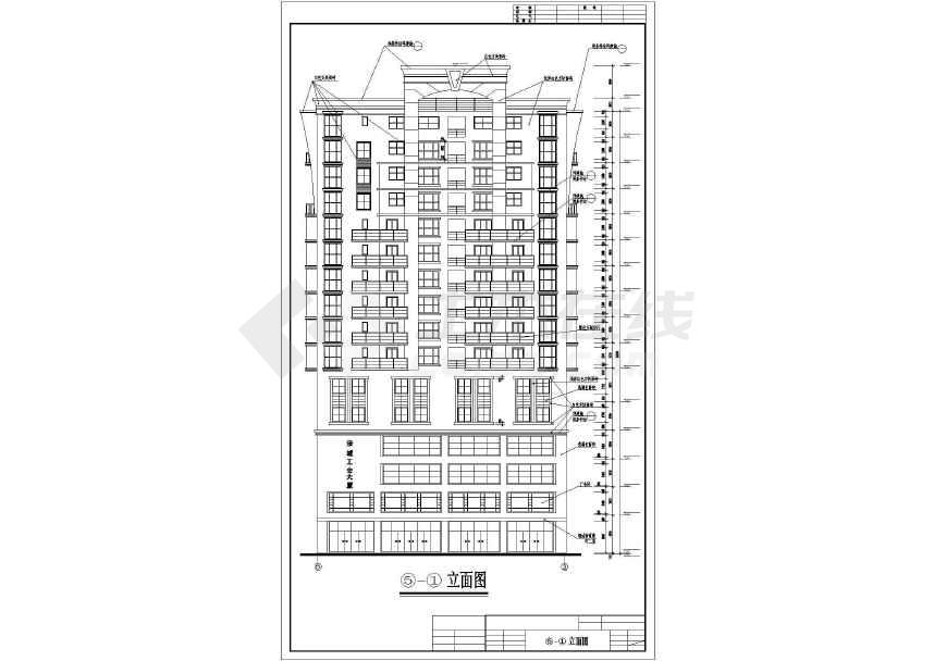 某地十六层工会大厦建筑方案图-图1