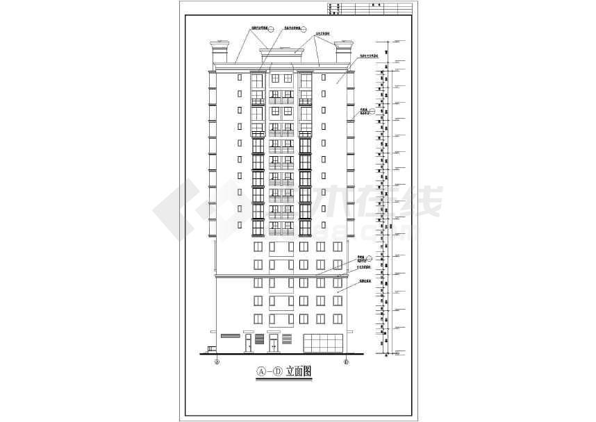 某地十六层工会大厦建筑方案图-图3