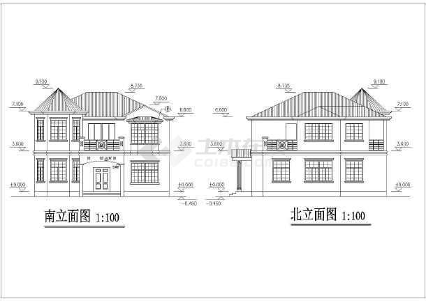 一套小别墅建筑施工CAD图-图1