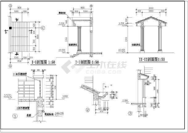 一套小别墅建筑施工CAD图-图2