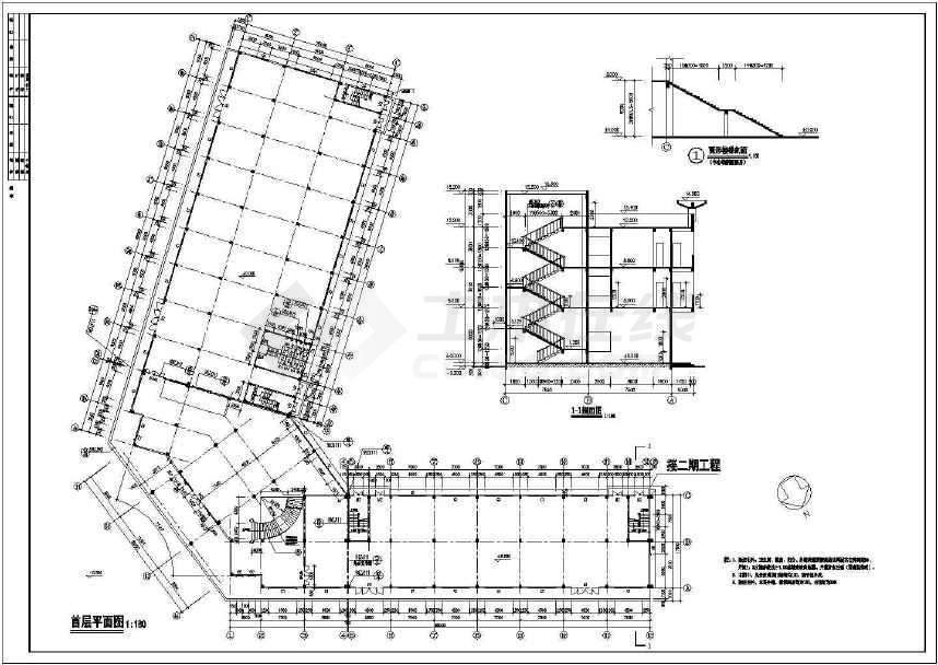 某地综合市场建筑方案图-图3