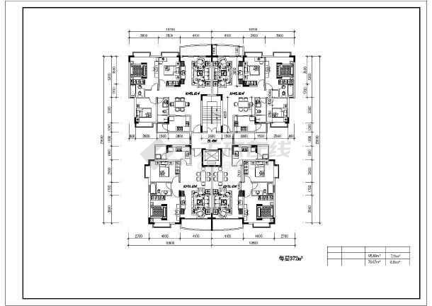某住宅小户型建筑设计CAD平面图-图3