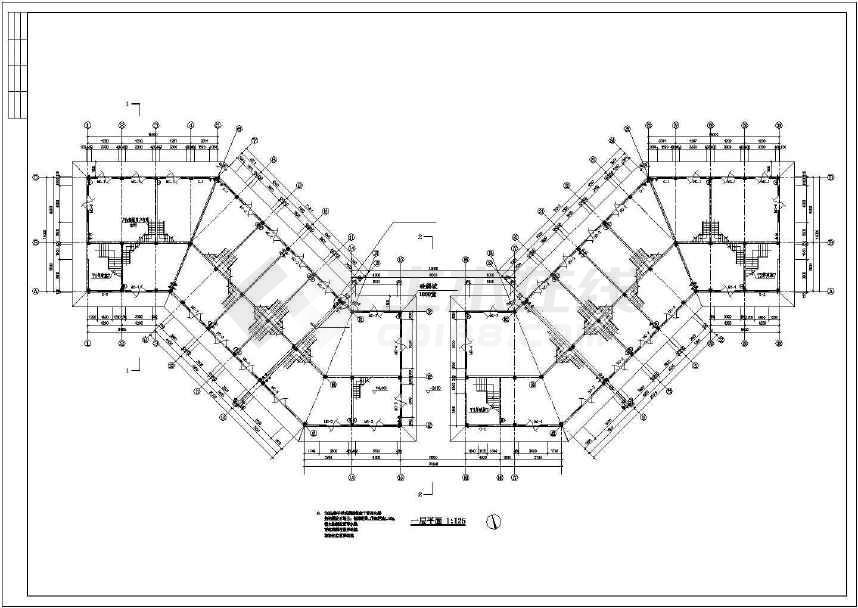 某地三层临街底商办公楼建筑方案图-图1