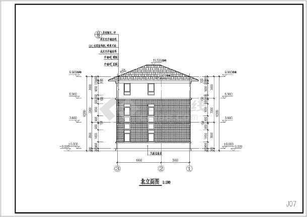 某框架结构小别墅全套施工图-图1