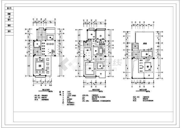 带天台别墅室内设计装修cad施工图-图二
