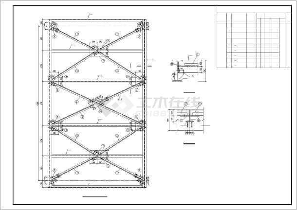 三跨钢结构通廊施工图纸-图1