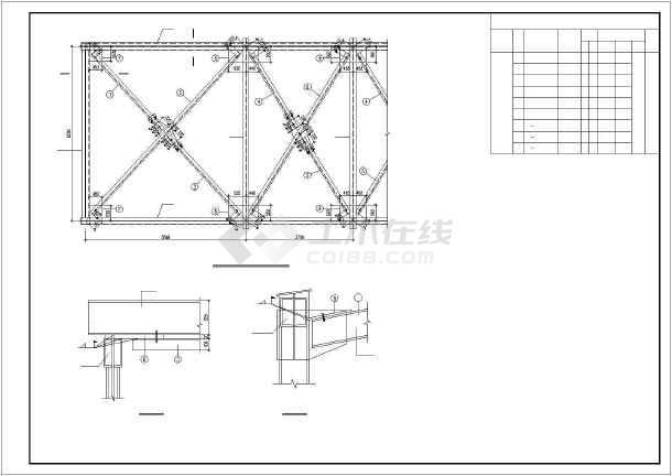 三跨钢结构通廊施工图纸-图3