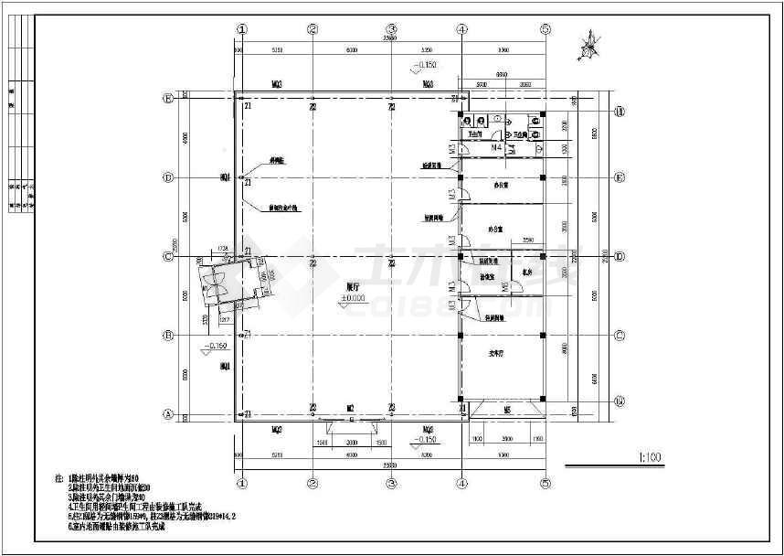 某地精美单层汽车展厅建筑方案图-图2