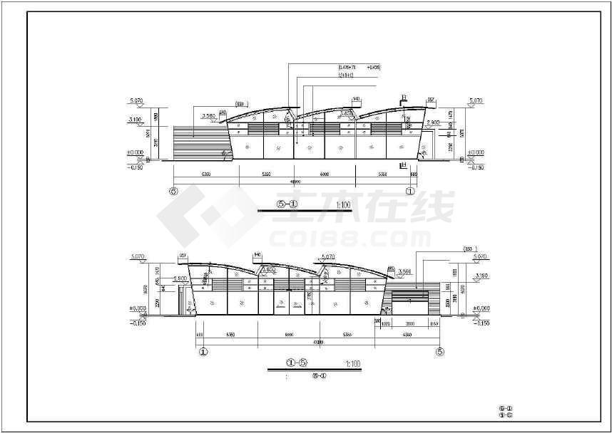 某地精美单层汽车展厅建筑方案图-图3