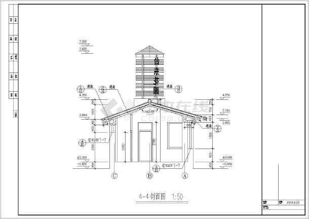 某框架结构小区大门建筑施工图-图3