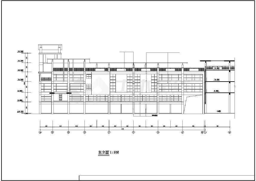 某地三层市场建筑方案图-图1