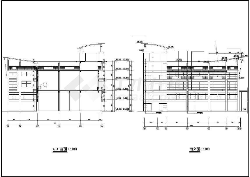 某地三层市场建筑方案图-图2