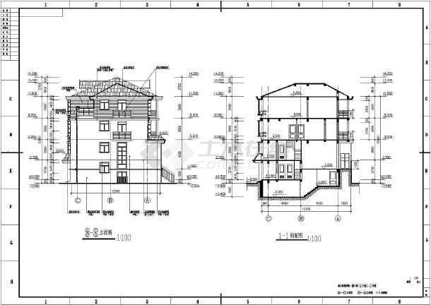 某框架结构联排别墅设计方案图-图2