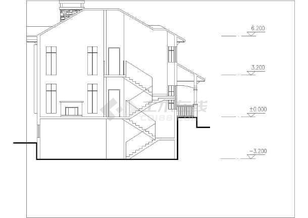 坡地独栋别墅方案设计建筑图-图1