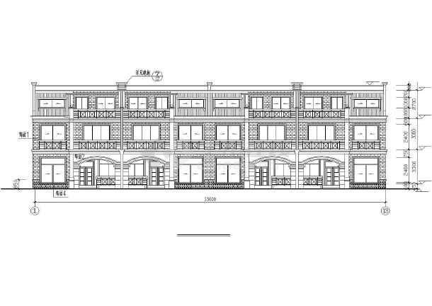 某砖混结构联体别墅全套施工图-图2