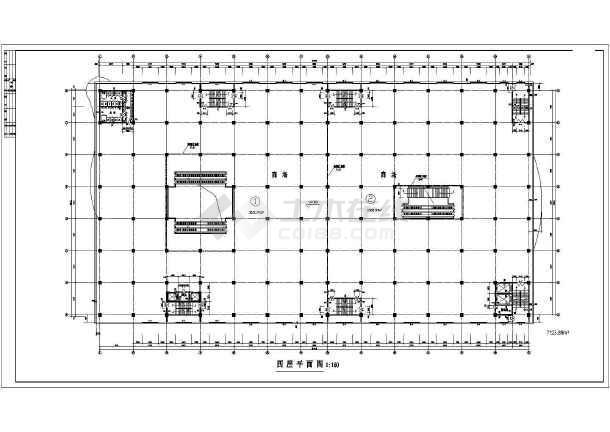 商场平面建筑设计施工CAD图-图1