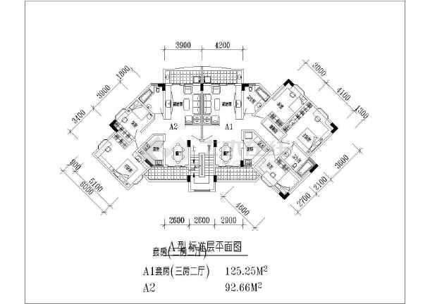 高层套型户型平面图-图2