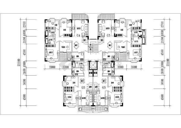高层套型户型平面图-图3