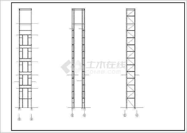 增建五层钢框架结构观光电梯结构施工图-图2