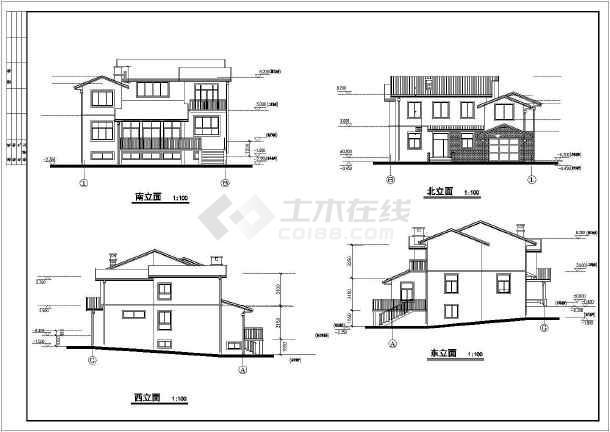 某住宅小区多层别墅建筑设计cad方案图-图1