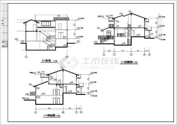 某住宅小区多层别墅建筑设计cad方案图-图2