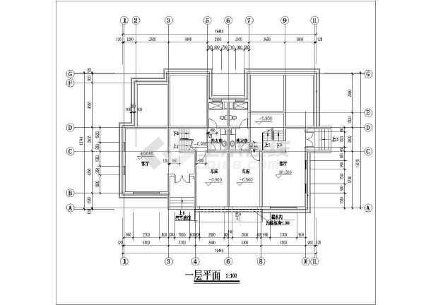 某地住宅区联体别墅建筑设计方案cad图-图1