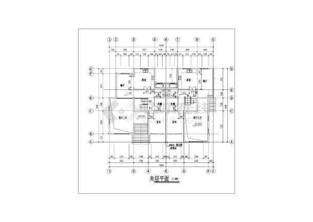 某地住宅区联体别墅建筑设计方案cad图-图2